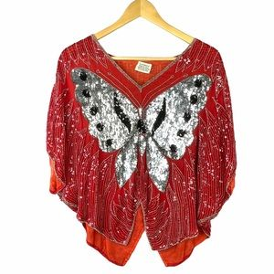 Vintage Butterfly Sequin Silk Blouse Disco 70s
